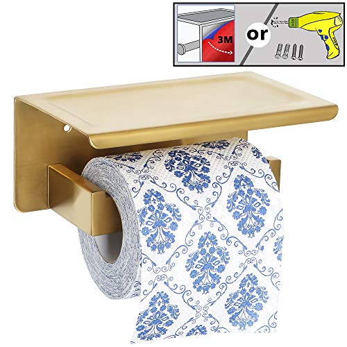 Alise GYT5000-G Toilet Paper Holder Tissue Holders Paper Storage with Mobile Phone Storage Shelf,3M Self-Adhesive or Wall Drilling,SUS304 Stainless Steel Brushed Golden Finish
