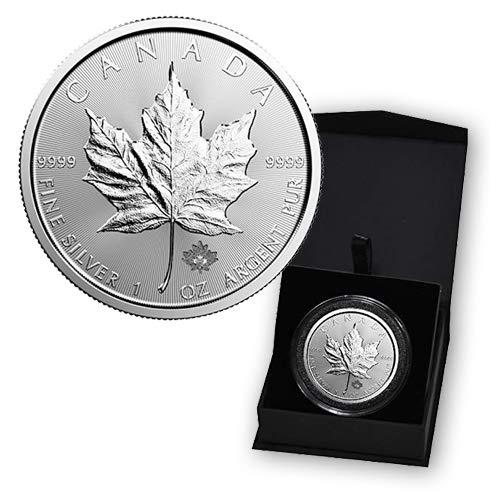 2019 CA Canadian Maple Leaf 1 Troy Oz Silver Bullion in Capsule and Presentation Box $5 Dollars Brilliant Uncirculated (Dollar Canadian Silver)