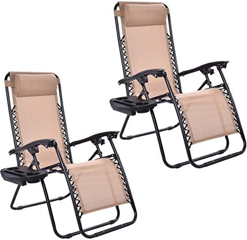 Casart 2PC Zero Gravity Patio Chaise Chair with Cup Holder, Outdoor Folding Recliner for Yard, Garden and Poolside