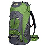 Vbiger 60L Outdoor Backpack Waterproof Backpacking Pack Travel Daypack for Climbing, Hiking, Trekking, Mountaineering, with Rain Cover (Green)