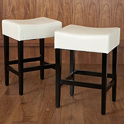 Amazoncom Lopez 27 Inch Backless Ivory Leather Counterstools Set