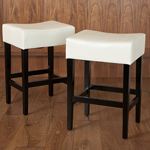 Lopez 27-inch Backless Ivory Leather Counterstools (Set of 2) by Christopher Knight Home (27 Inch Counter Stools)