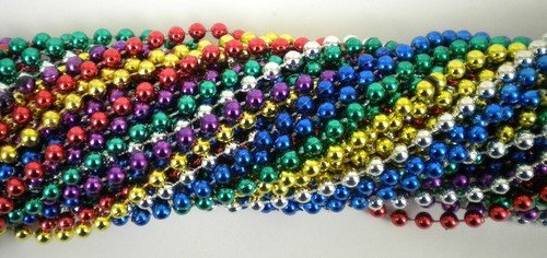 - 33 Inch 07mm Round Metallic 6 Color Mardi Gras Beads - 6 Dozen (72 Necklaces)