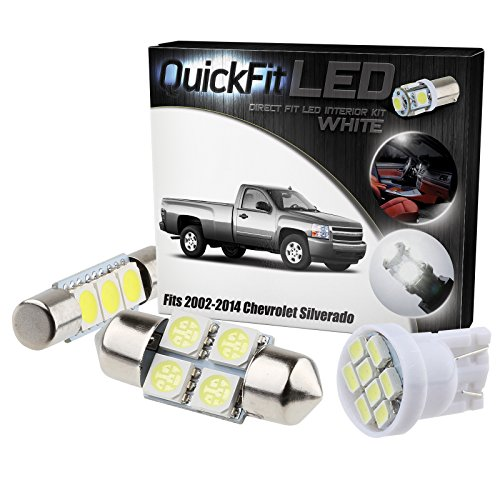 QuickFitLED White LED Interior Light Package Kit For Chevrolet Silverado 2002-2014 (15pcs) (White Led Interior Package compare prices)