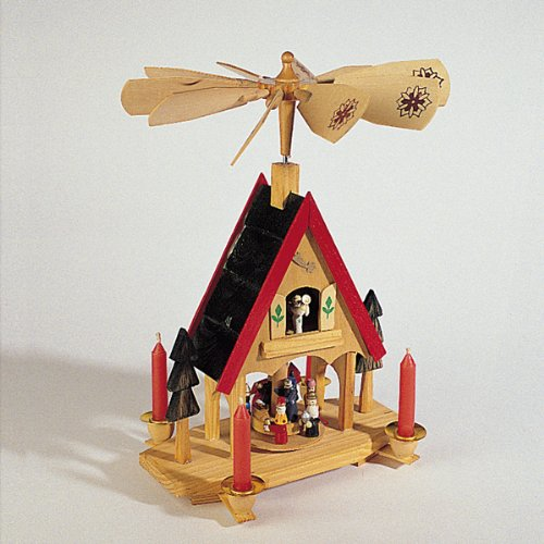 "12"" Wooden Alpine Windmill Christmas Nativity Carousel Table Top Candle Holder"