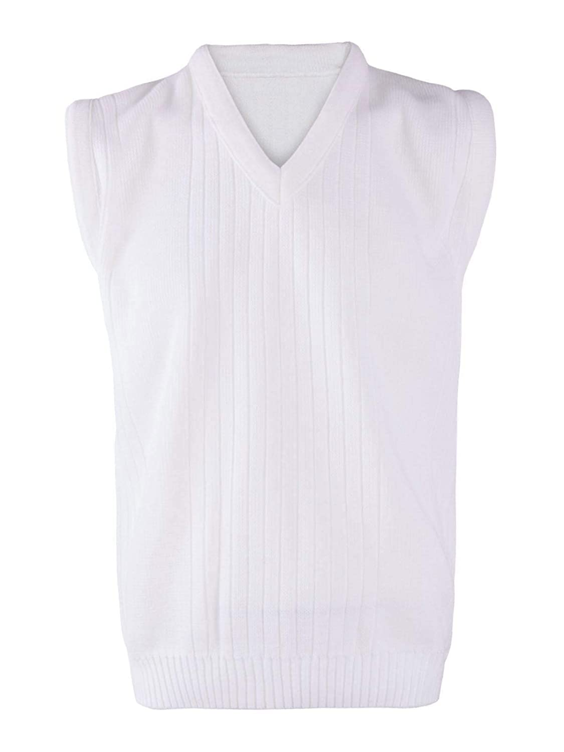 DIGITAL SPOT Mens Bowling White Knitted Ribbed Sweater Adult Sleeveless V Neck Lawn Bowl Top Small//5X-Large