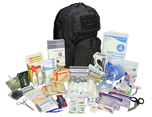 (Lightning X Stocked Modular Trauma & Bleeding First Aid Responder Medical Backpack + Kit - Black)