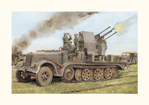 (Dragon 1/35 2cm Flakvierling 38, German Half-Track with Quad Gun)