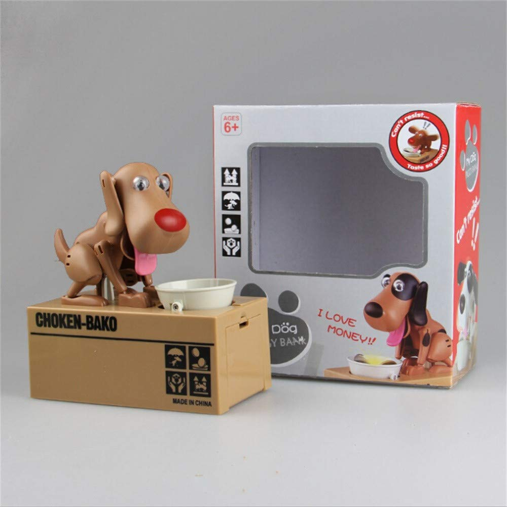 QIKI Kids Dog Piggy Bank Stealing Coin Dog Toys Money Saving Box Fun for Boys Girl Dog Can Sound Shake Heads Tail Ears Rotating Brown