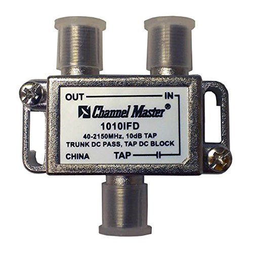 Thru Tap 20 (1 Way 10 dB Tap 40 - 2150 MHz T-Type 2 GHz 75 Ohm DC Passive Trunk DC Pass Tap DC Block High Frequency UHF / VHF Video Signal TV Antenna Coax Cable)