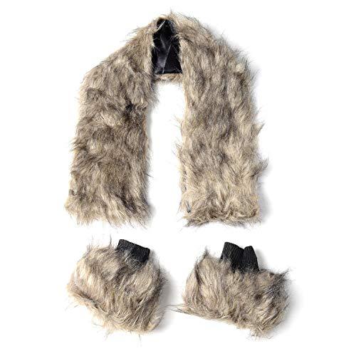 Beige 100% Polyester Faux Fur Collar Lightweight Scarf Wrap Hijab 37.8x5.71
