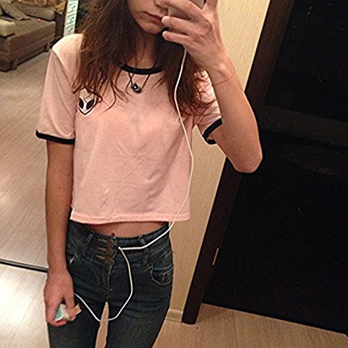 9c05241df46 Blogger Striped ET Teen Girls Alien Crop Top Slim Tees Short Sleeve T-shirt  (M(US10-12), -Pink) - 43225-3518 < Tees < Clothing, Shoes & Jewelry - tibs