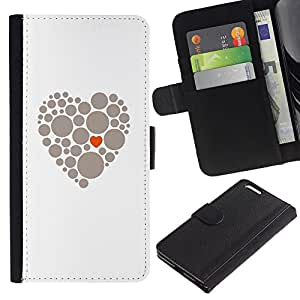 UberTech / Apple Iphone 6 PLUS 5.5 / White Heart Dot Minimalist Orange Grey / Cuero PU Delgado caso Billetera cubierta Shell Armor Funda Case Cover Wallet Credit Card