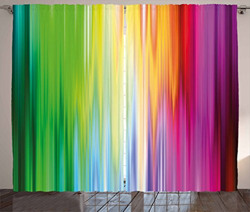 Ambesonne Rainbow Curtains, Abstract Colors Looking like Flowing into one Another Rainbow Color Schemed Artwork, Living Room Bedroom Window Drapes 2 Panel Set, 108 W X 63 L Inches, Multicolor (Curtains Kids Bright)