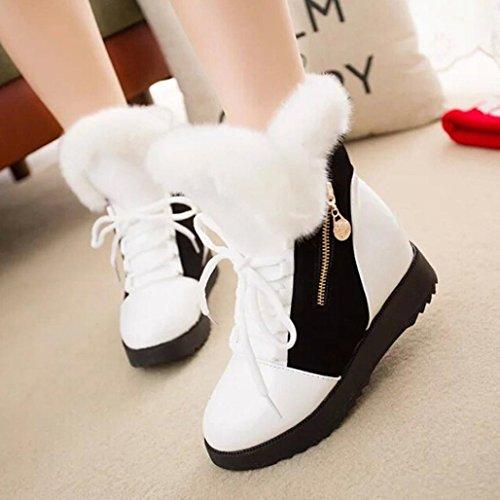 Elevin (tm) Snow Botas, 2018mujeres Winter Warm Soft Snow Botas Round Toe Flat Fur Botines Zapatos Blancos