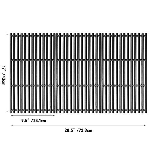 Uniflasy 17 Inches Matte Cast Iron Cooking Grid Grates for