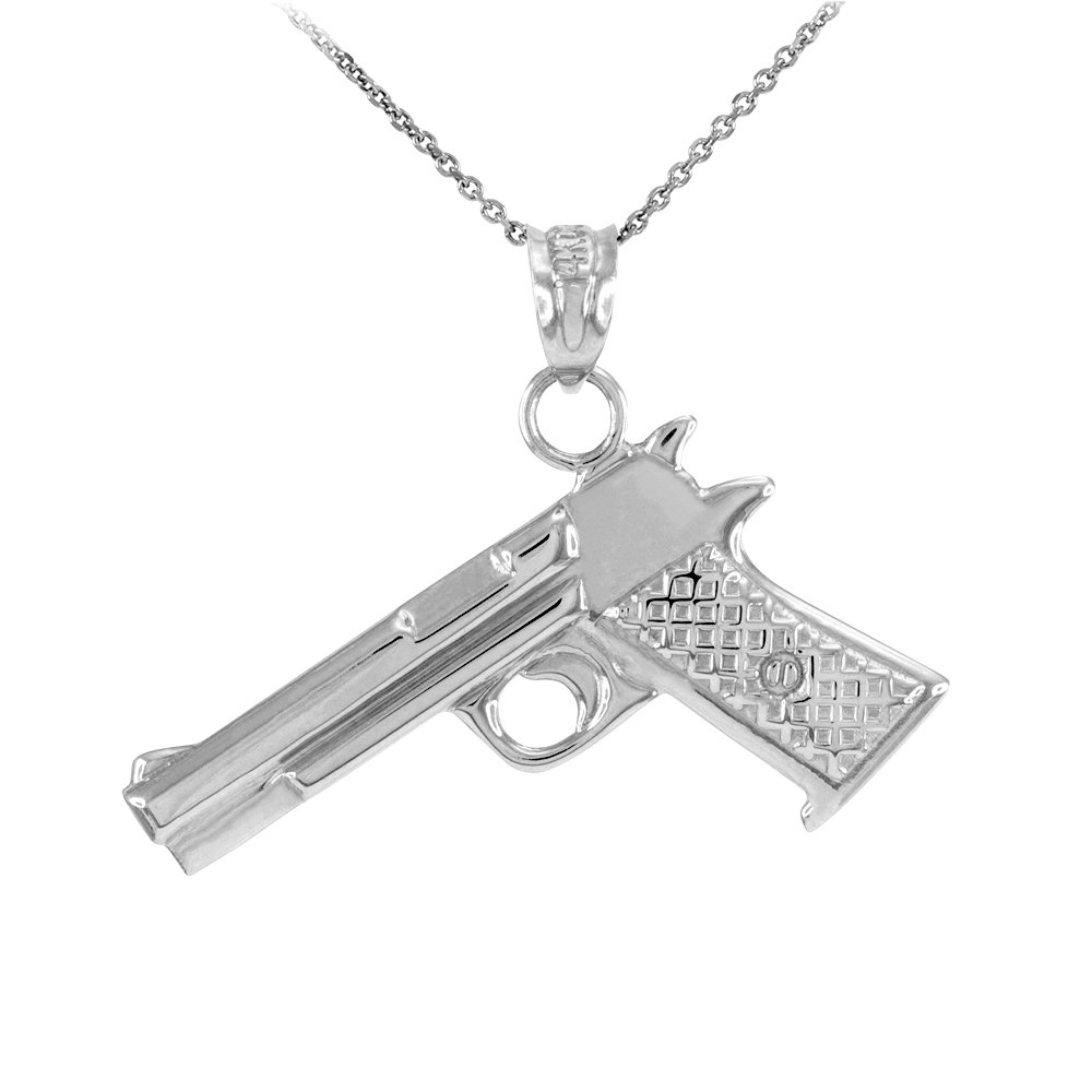 Solid 925 Sterling Silver Pistol Gun Pendant Necklace, 20''