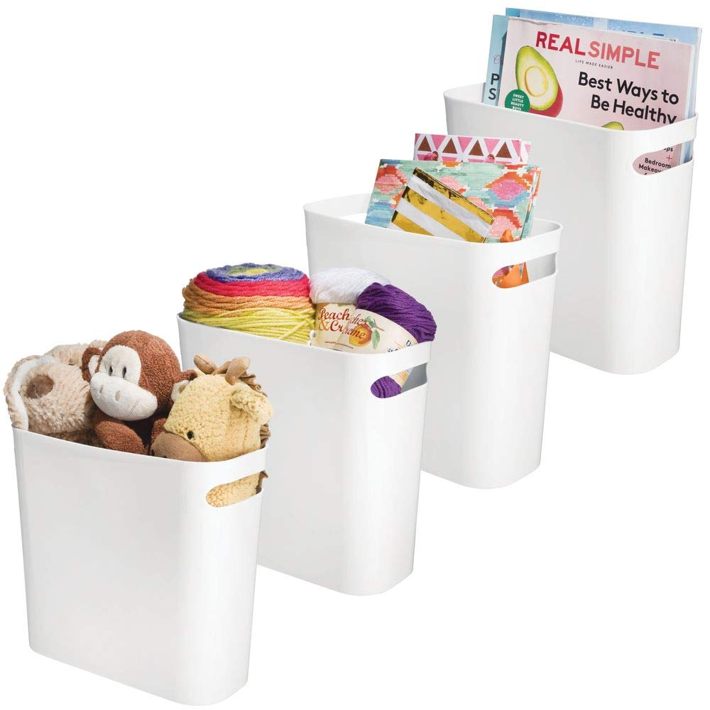 """mDesign Plastic Storage Organizer, Holder Bin Box with Handles - for Cube Furniture Shelving Organization for Closet, Kid's Bedroom, Bathroom, Home Office - 10.75"""" x 5"""" x 10"""" High, 4 Pack - White"""