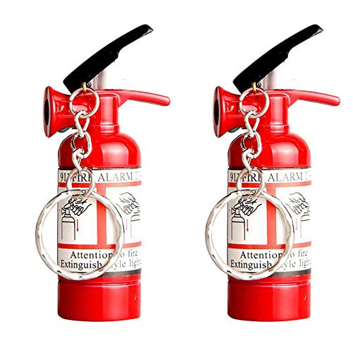 Cigarette Gas Lighter - Mini Fire Extinguisher Lighter Refillable Cigarette Lighter Butane Gas Lighter with Key Chains,2 Packs