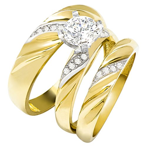 (14k Two Tone Gold Round Cubic Zirconia Bridal Wedding Trio Ring Set (1.32 cttw) - Style 13)