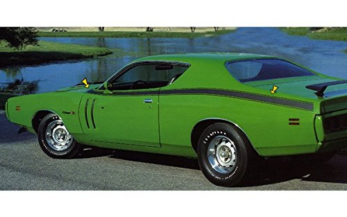 1971 Dodge Charger R/T Hood Cowl and Side Stripes Kit in Flat Black by Southern Car Parts Dodge Charger Cowl Hood
