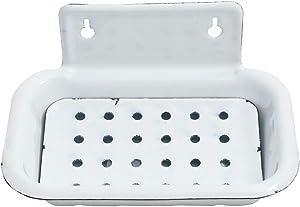 Treasure Gurus White Enamel Metal Soap Bar Dish Farmhouse Bathroom Shower Holder Kitchen Sink Tray