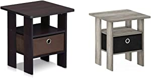 FURINNO Andrey End Table Nightstand with Bin Drawer, 1-Pack, Dark Walnut & 11157GYW/BK Andrey End Table Nightstand with Bin Drawer, 1-Pack, French Oak Grey