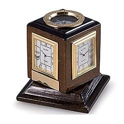 KensingtonRow Home Collection Desk Clocks - Multiple Time Zone Revolving Desk Clock with Compass