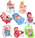 Click N' Play Set of 8 Mini 5' Baby Girl Dolls with Accessories, Stroller, Cradle, High Chair, Bathtub, Infant Seat, Swing, Walker, Potty