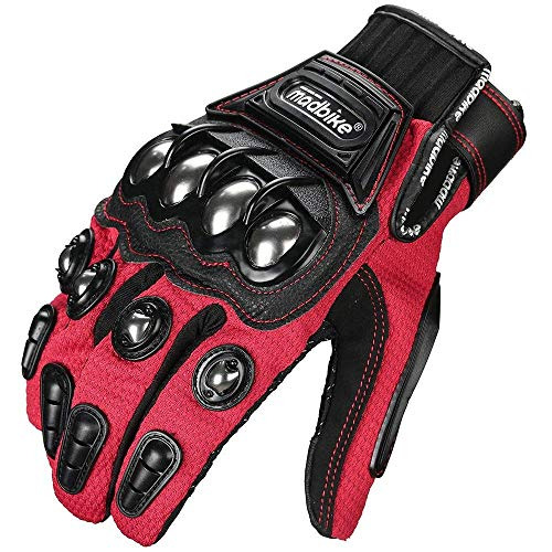 ILM Alloy Steel Touchscreen Bicycle Motorcycle Motorbike Powersports Racing Gloves (XXL, RED)