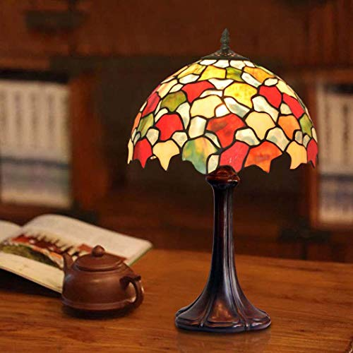 DSHBB Tiffany Style Table Lamp,Eye Protection European Pastoral Retro Stained Glass Table Lights Maple Leaf,Bedroom,Living Room Decoration Bedside Lights (Color : Lotus Base)