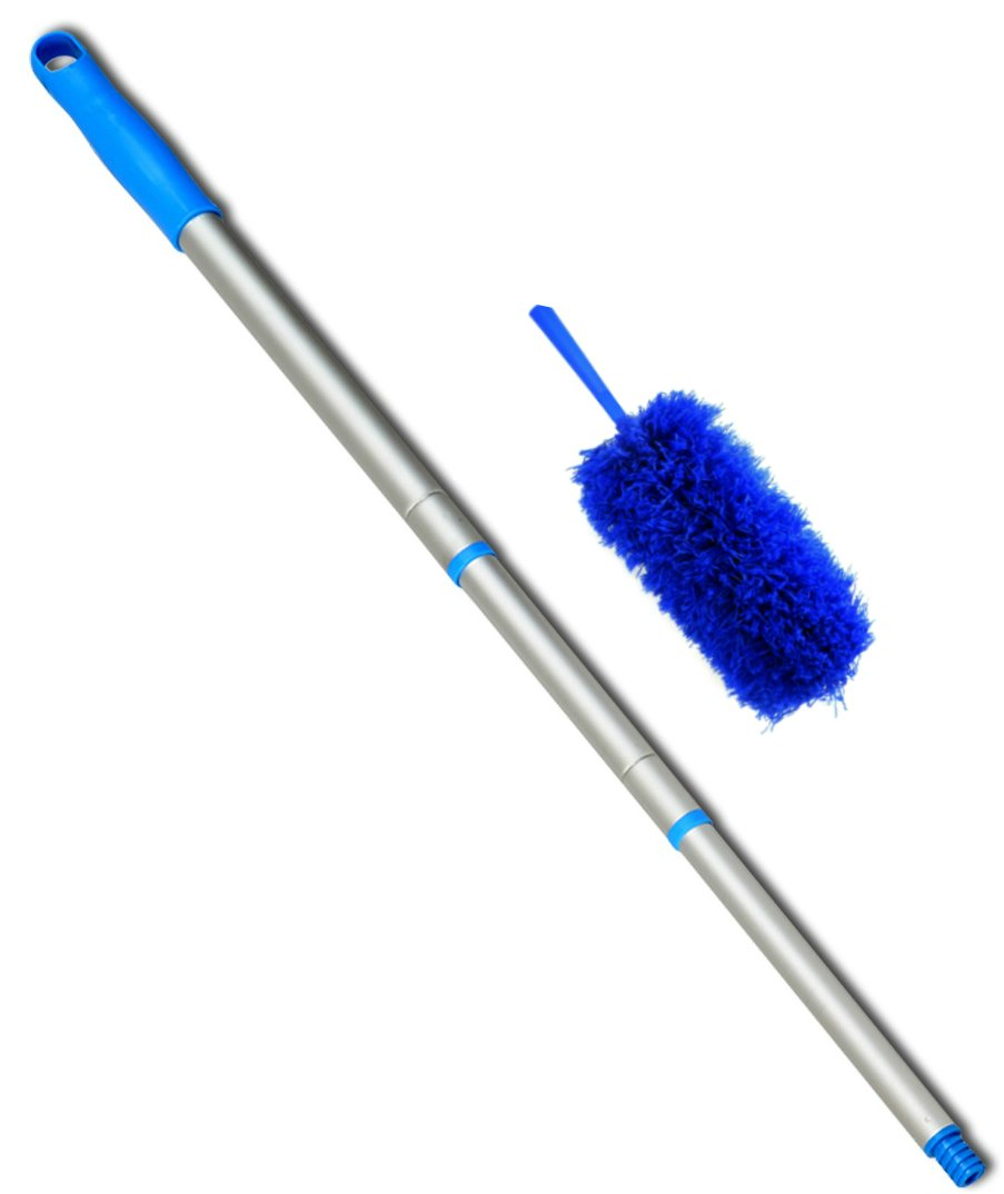 22 inch Bendable Fluffy Blue Microfiber cleaner Duster and a Lightweight, Threaded extending 23 Inches to 4 Feet Long Pole, Kit. The Total Length of Duster and the Pole Is 6 Feet.