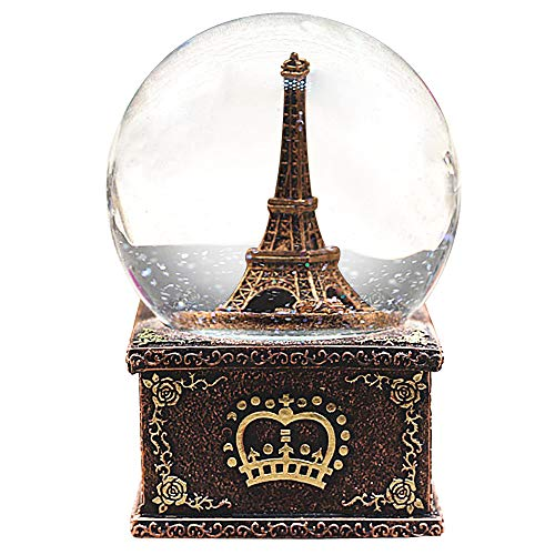 HIKEL Paris Snow Musical Globes Retro Eiffel Tower Water Globe with Led Light for Birthday Gifts Kids Girls Gift Creative Desktop Decoration ()