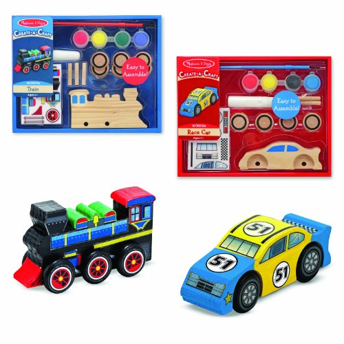 Melissa & Doug Decorate-Your-Own Wooden Train and Race Car Craft Kits, Set of 2 (Wooden Race Cars Set)