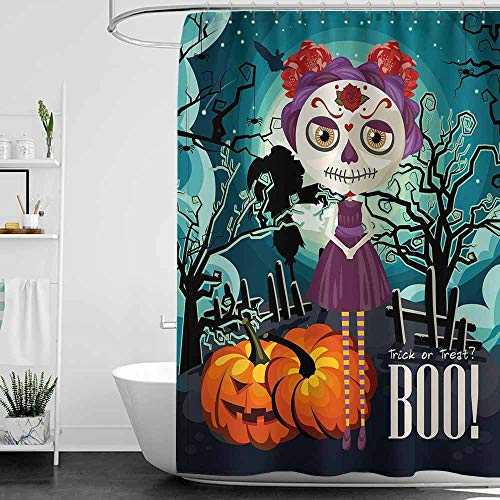 SKDSArts Shower Curtains Light Blue Halloween,Cartoon Girl with Sugar Skull Makeup Retro Seasonal Artwork Swirled Trees Boo,Multicolor,W36 x L72,Shower Curtain for Men]()