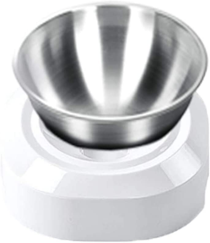 Elevated Cat Bowls with Stainless Steel Bowls, 15° Tilted Raised Cat Food and Water Bowls, Nonslip No Spill Pet Feeding Bowls for Cat and Small Dogs(White, Single Bowl)