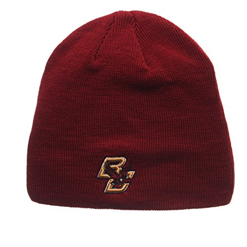 ZHATS Boston College Eagles Red Edge Skull Cap - NCAA Cuffless Winter Knit Beanie Toque Hat