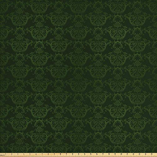 (LONSANT Hunter Green Fabric by The Yard, Victorian Damask Rococo Renaissance Swirled Classic Floral Petals Pattern, Decorative Fabric for Upholstery and Home Accents, 2 Yards, Hunter Green)
