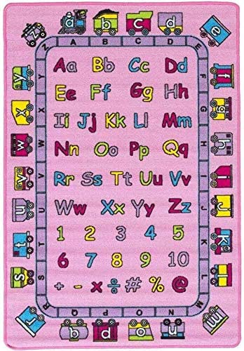 Mybecca Kids Rug Abc Fun In Pink Area Rug 5 X 7 Children Area Rug For Playroom Nursery Non Skid Gel Backing 59 X 82 Furniture Decor Amazon Com