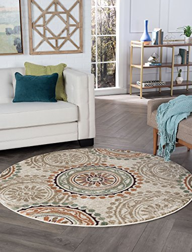 Cadence Transitional Geometric Ivory Round Area Rug, 8' - Cranberry Rug Round