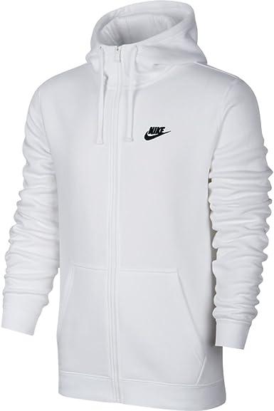 Nike Mens Sportswear Full Zip Club Hooded Sweatshirt White/Black 804389-100  Size X-Large