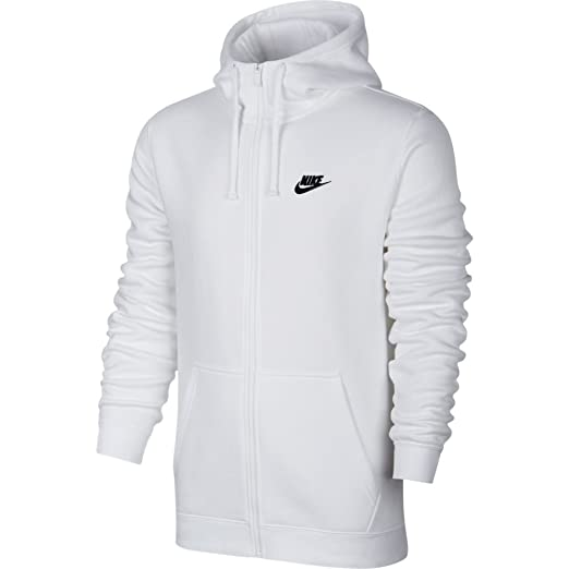 97462dac Image Unavailable. Image not available for. Color: Nike Mens Sportswear  Full Zip Club Hooded Sweatshirt White/Black 804389-100 Size X