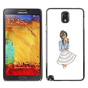 Plastic Shell Protective Case Cover || Samsung Galaxy Note 3 N9000 N9002 N9005 || Girl Woman White Glasses @XPTECH