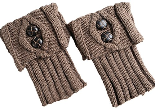 CAIHEE Women Winter Crochet Leg Warmers Knitted Boots Socks (One size, Light Brown-1) (Child Purple Furry Boot Covers)
