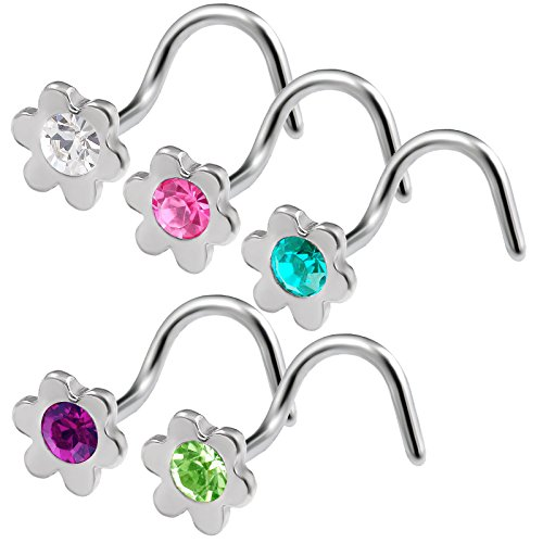(bodyjewellery 5pcs 20g 0.8mm Clear Rose Blue Zircon Amethyst Peridot Flower Nose Screw Ring Nostril Corkscrew Stud Surgical Steel Crystals)