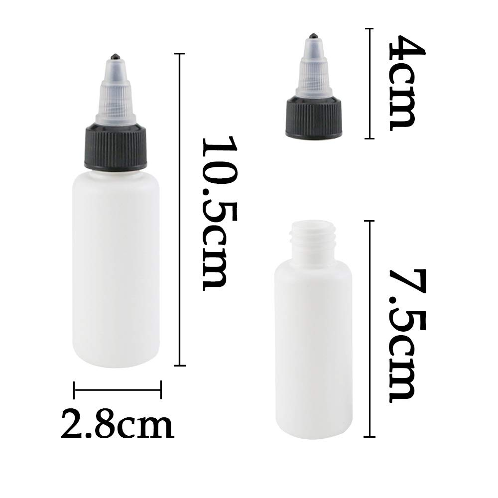 1oz//30ml Twdrer 30 Pack Dispensing Bottles with Twist Top Cap,Small Boston Round LDPE Plastic Squeeze Bottle