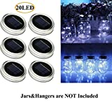 AlleTechPlus 6-Pack 20 LED Solar Powered Mason Jar Fairy Firefly Lights Lids Insert for Patio Yard Garden Party Wedding Christmas Decorative Lighting Fit for Regular Jar's Mouth (White)