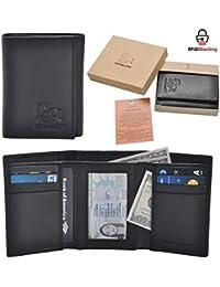 Handmade Mens Rfid Blocking Genuine Leather Trifold Multi Card ID Window Wallet Black, Black Pebble, 3.5x4.4x0.75