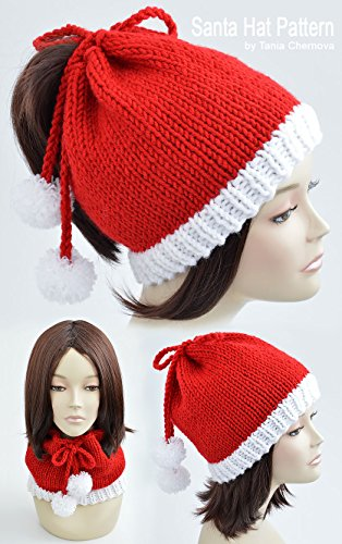 Santa Hat Pattern Christmas Hat Knitting Pattern Pom Pom Hat Knit
