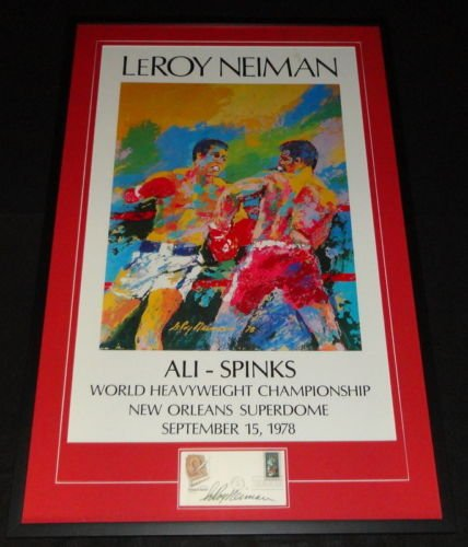 Leroy Neiman Signed Framed 26x41 Ali Spinks Lithograph Display (Leroy Neiman Auction)